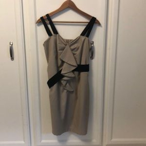 Tan and black party dress